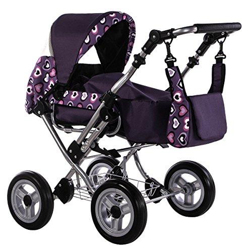 Zekiwa Zeki de Luxe Kombipuppenwagen mit Schwenkschieber, viele Spielfunktionen, mit Anhängetasche, Dessin: Herzen Violett