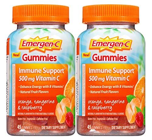 Emergen-c Gummies Immune Support 500 mg vitamin C, Orange Tangerine & Raspberry, 45 Gummies (Pack of 2)