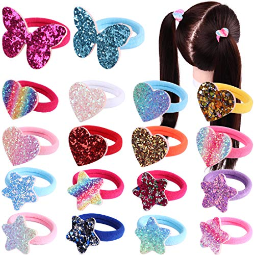 36 Pcs Hair Ties For Toddler Girls,Baby Hair Ties Sweet Sparkle Rubber Band For Kids,Heart Star Butterfly Cartoon Pet Bows Ponytail Holder In Pairs