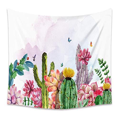 Tapiz Pared Mantas Sofa Etnicas Tapiz De Cactus De Plantas Tropicales Tapiz Fresco Pequeño Decoración De Pared para Dormitorio Sala De Estar Toalla De Playa 230X180Cm