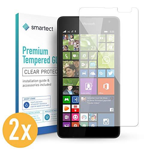 smartect Panzerglas kompatibel mit Microsoft Lumia 535 [2 Stück] - Bildschirmschutz mit 9H Festigkeit - Blasenfreie Schutzfolie - Anti Fingerprint Panzerglasfolie