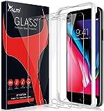 TAURI [Paquete de 3] Protector de pantalla para iPhone 7 Plus/iPhone 8 Plus, [marco de alineación] fácil de instalar [apto para fundas] Protector de pantalla de vidrio templado