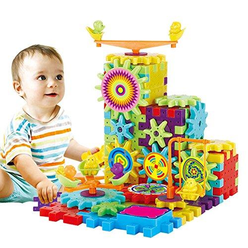 Liamostee 81 Stück Kunststoff elektrische Zahnräder 3D Puzzle Bausteine Lernspielzeug für Kinder Geschenk