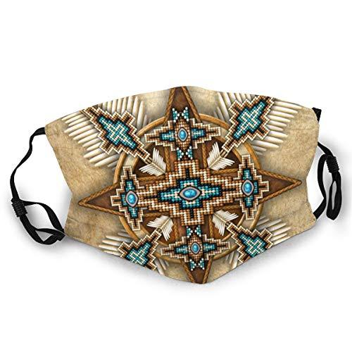 Verstellbarer Mundschutz Indianer Perle Kreuz Ethno Anti-Staub Erwachsene Bequem Halbgesicht für Männer Frauen
