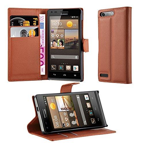 Cadorabo Hülle für Huawei Ascend G6 in Schoko BRAUN - Handyhülle mit Magnetverschluss, Standfunktion & Kartenfach - Hülle Cover Schutzhülle Etui Tasche Book Klapp Style