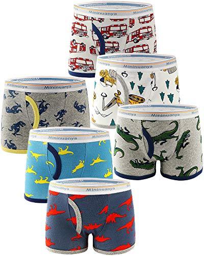 Adorel Jungen Boxershorts Unterhosen Baumwolle 6er-Pack Dinosaurier & Feuerwehauto 110 (Herstellergröße 120)