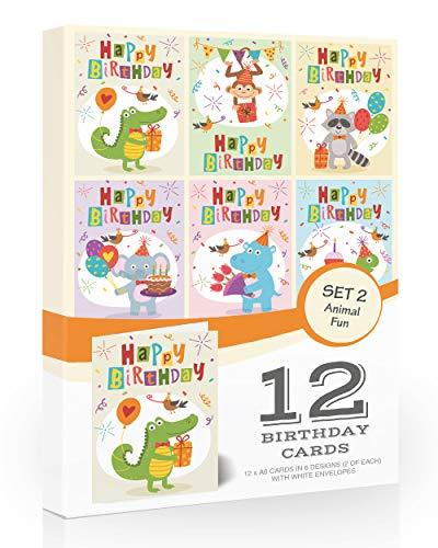 Olivia SamuelTM Geburtstagskarte für Kinder, Tiermotiv, 12 Stück Inklusive Umschlägen.