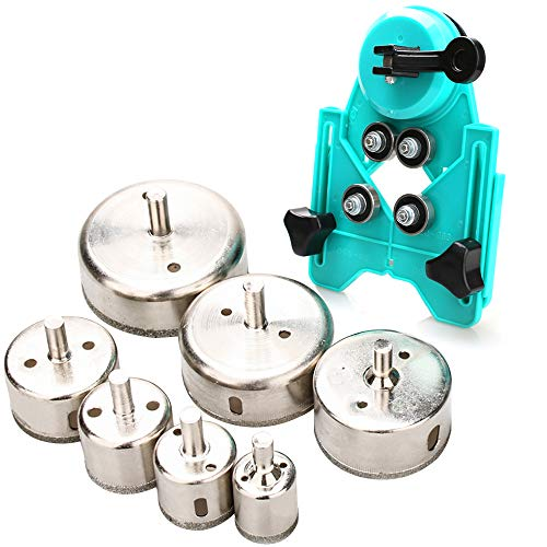 Hole Saw Set, 7Pcs Diamond Drill Bits with Hole Saw Guide Jig Fixture, 1/1.2/1.6/2/2.4/2.8/3.15 inch Coated Core Drill Bits, Adjustable Hole Saw Centering Locator Suction Holder for Glass,Ceramics,Tile