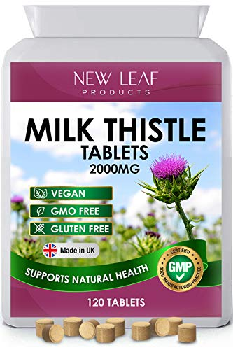 Milk Thistle Tablets - 80% Silymarin High Strength - Liver Support - 4 Months One A Day Milk Thistle 2000mg Supplements - Vegan, GMO-Free, Gluten-Free, Made in The UK, (120 Tablets)
