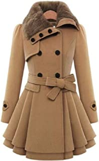 FSSE Womens Belted Thicken Longline Lapel Slim Fit Double Breasted Wool Blend Jacket Trench Coat