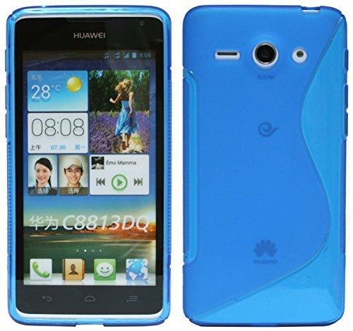 ENERGMiX Silikon Hülle kompatibel mit Huawei Ascend Y530 Schale Tasche in Blau