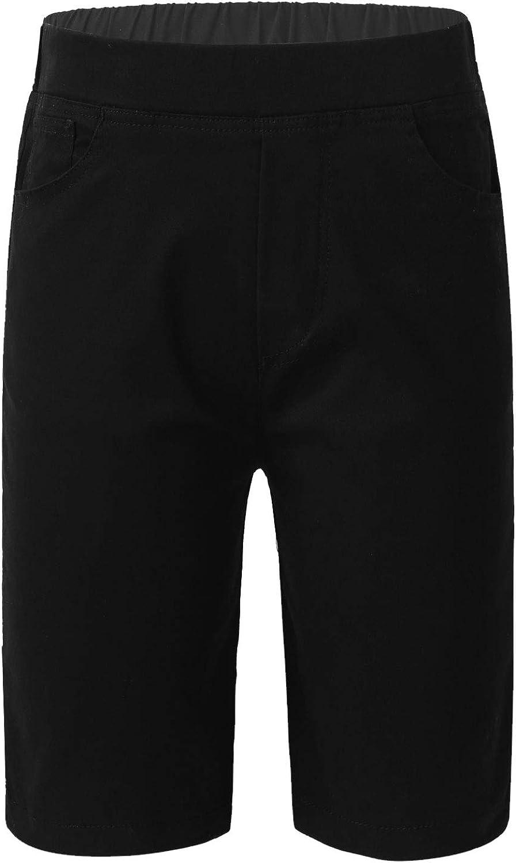 iiniim Kids Boys Girls Comfortable Pull-on Knee Length Shorts Flat-Front Pants Summer Casual wear School Uniform