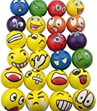 Mydio Set of 24 Stress Balls Stress Reliver Party Favor Soft PU Ball Assorted Colors Random Pattern Party Toys Kids Play Ball Tent Ball Toddler Ball 24 Pack