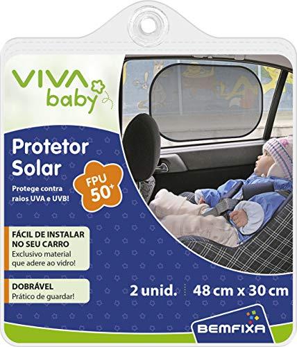 Vivababy- Protetor Solar Dobrável para Carro, 48 cm x 30 cm, Preto, 2 unidades