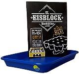 sl-Eisblock - Getränkekühler Bierkühler BLAU in Geschenkverpackung für 0,5l Flaschen Made IN Germany + Auffangwanne/Wasserauffangschale (Geschenkverpackung + Auffangwanne)