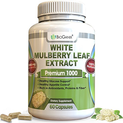 Bioganix Pure White Mulberry Leaf Premium Extract for Natural Blood Sugar Control with Antioxidants 1000 mg (60 Capsules), 2 capsules per serving, 30 Day Supply