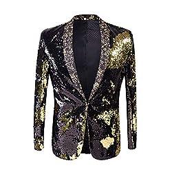 Black + Gold Color Conversion Shiny Sequins Blazer