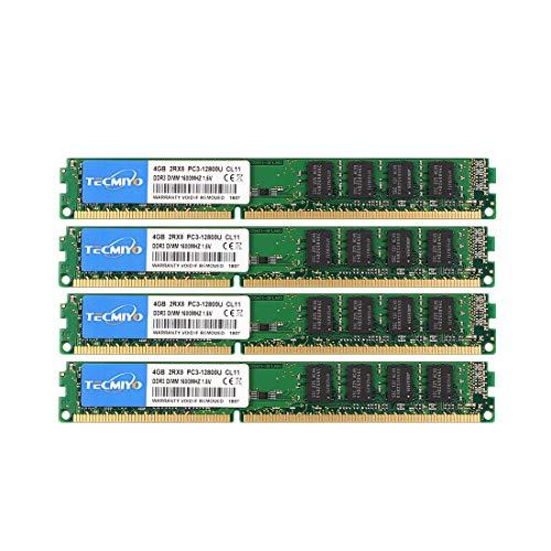 TECMIYO DDR3 Ram 16GB Kit 4x4GB 1600MHz PC3-12800U 240 Pin UDIMM Desktop, Non ECC Unbuffered 1.5V CL11 Dual Rank Desktop Memory Ram Module