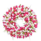Gneric Artificial Tulips Wreath Spring Garland Rettan Flower Ornament Simulation Wreath Festival Decorations for Front Door Outside Decor (A)