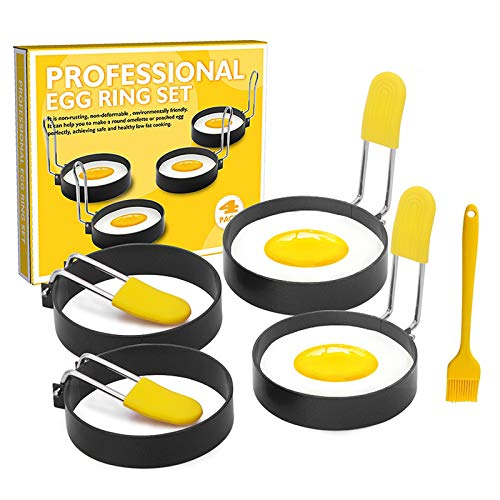 123 Life Eggs Rings 4 Pack,circle Egg Shaper with Anti-scald Handle Oil Brush,no Stick,Kitchen Cooking Tool for English Muffins Pancake