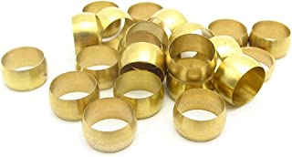 Joywayus 25pcs Brass Compression Fitting Sleeves Ferrule Ring for 6mm Tube