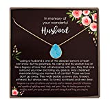 Personalized Loss of Husband Sympathy Gift, Bereavement Gifts, Turquoise Necklace with Meaningful Message (Personalized Turquoise Necklace (14K Gold-filled))