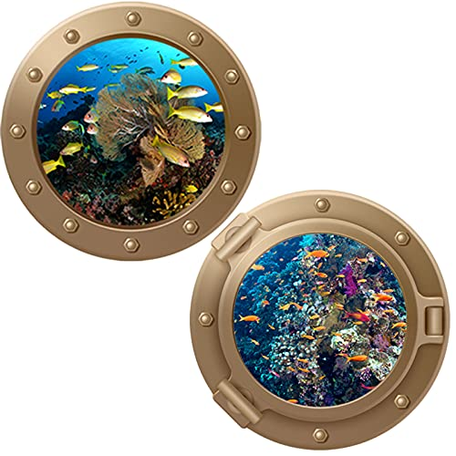 Vinilos Para Azulejos Submarinos Dormitorio Sala Estar Decoración Ojo Buey Decoración Ojo Buey Baño Pegatinas Azulejos Submarinos Marinas Submarinas Ojo Buey 3D Pegatinas Pared Decoración 2 Piezas