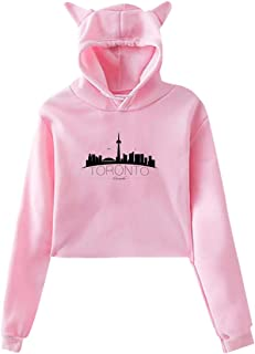 Womens Long Sleeve Sweater Lovely Crop Top Cat Ear Hoodie Sweatshirt with Art Toronto Skyline Printing