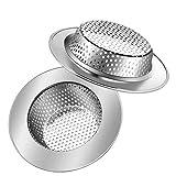 2 Piezas acero inoxidable tapón de fregadero colador, Filtro de desagüe del fregadero de la cocina, para tocador de baño, residuos de filtro y evitar el bloqueo