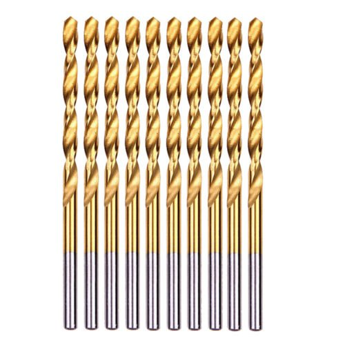 DRILLFORCE10-piece 13/32' Round Shank HSS Titanium Coated Twist Drill Bits for Metal … (13/32)