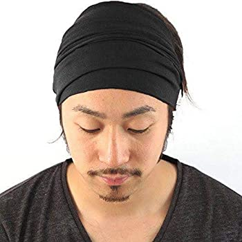 Style Along Mens Head Cover Band Bandana Stretch Hair Style Japanese (Black)