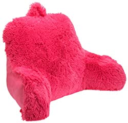 Bright pink faux fur reading pillow for kids girls and teens