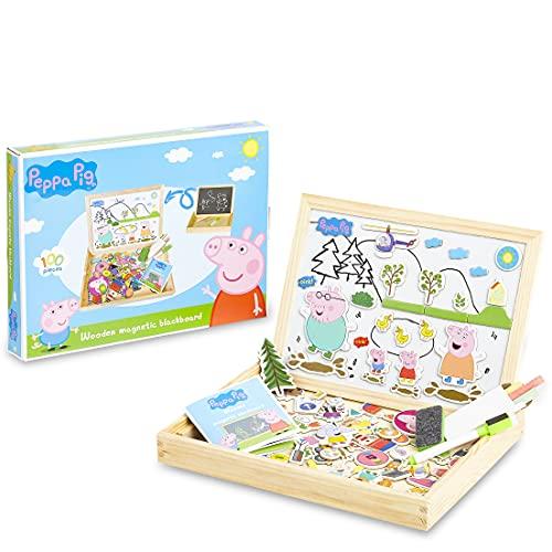 Peppa Pig Pizarra Infantil, Pizarra Magnetica Infantil y Puzzle Niños, Incluye Imanes Rotuladores y Tizas de Colores para Pizarra, Juguetes Regalos para Ninos y Ninas 3+