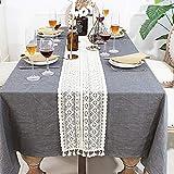 Makramee-Tischläufer aus Baumwolle, gehäkelte Spitze, Tischläufer mit Quasten, Vintage-Tischläufer, Bohemian-Stil, für Hochzeit, Braut-Esstisch (24 x 240 cm) - 5