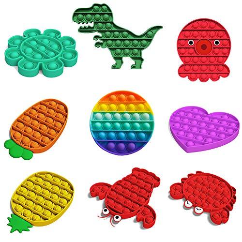 DZWJ Push Pop Pop Bubble Sensory Fidget Toy 9 PCS, Squeeze Sensory Toy Autism Special Needs Stress Reliever Help Restore Emotions