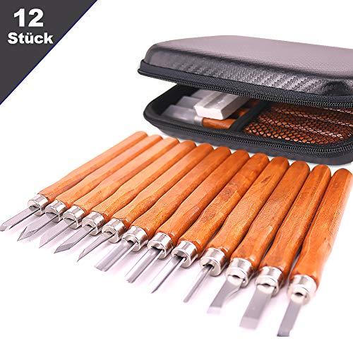 ALISTAR Holz-Schnitzwerkzeug Set 12 Stück Schnitzmesser für Holz mit Schleifstein und Tasche MEHRWEG