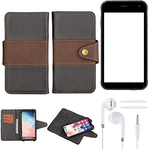 K-S-Trade® Handy-Hülle Schutz-Hülle Bookstyle Wallet-Case Für -Cyrus CS 22- + Earphones Bumper R&umschutz Schwarz-braun 1x