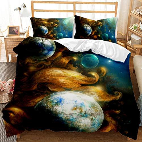 QXbecky Juego de Cama Planet Milky Way Universe Funda de edredón Funda de Almohada 2, Juego de 3 Piezas de Microfibra cepillada cálida y Transpirable 200cm