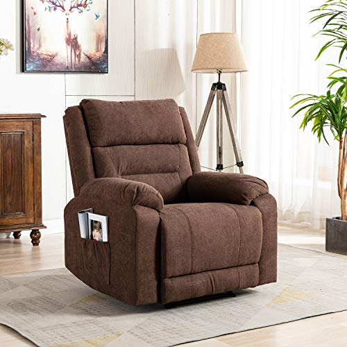 Wonline Massage Recliner Sofa Chair Reclining Single Sofa Armchair with Adjustable Backrest and Footrest 8 Point Massage & Lumbar Heat for Living Room Brown