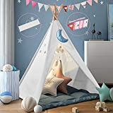 Kids Teepee Tent with Bunting & Carry Case,Raw White Canvas Teepee,Kids Foldable Play Tent for Indoor Outdoor,Portable Kids Tent-Kids Playhouse with Non-Slip mat