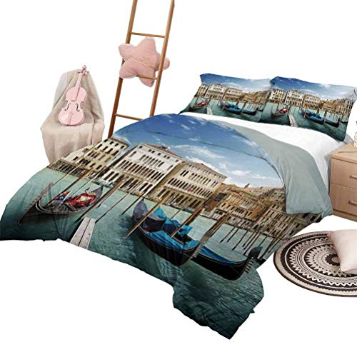 DayDayFun 3 Piece Coverlet Set Italian Soft Lightweight Coverlet for All Season Gondolas in The Venetian Adriatic Lagoon Historical Venezia Photo Queen Size Blue Sand Brown Almond Green