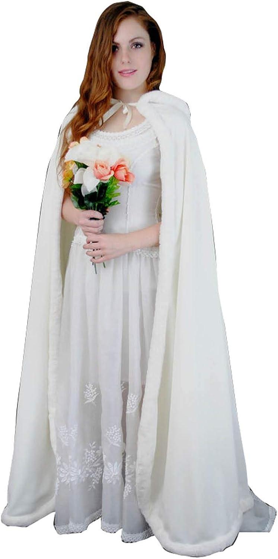 Kelaixiang Women Long Faux Fur Hooded Cape Coat Cloak for Bridal Winter White Cape