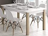 KITKAY Mesa de Comedor Extensible de 135X90 cm. en Roble Blanco/Roble Natural