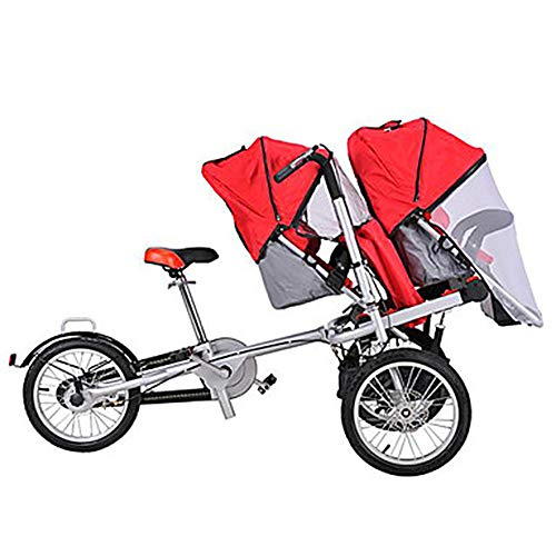 Buy Bargain LJHHH Foldable Baby Car,Three-Wheeled Electric Mother Car with Baby Car,Double Bicycle P...
