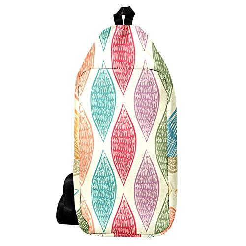 EZIOLY Abstracto dibujado a mano colorido husillo hombro mochila Sling Bag Crossbody...