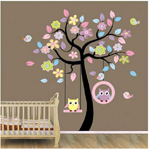 TAOYUE 170 * 160 cm grootte dieren boom muursticker blauw roze uil schommel boom muursticker kinderkamer muursticker