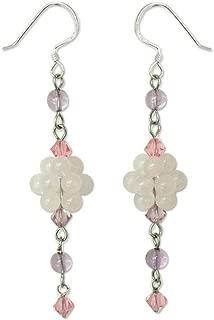 NOVICA Multi-Gem Rose Quartz .925 Sterling Silver Beaded Dangle Hook Earrings, Enchanted Bloom'