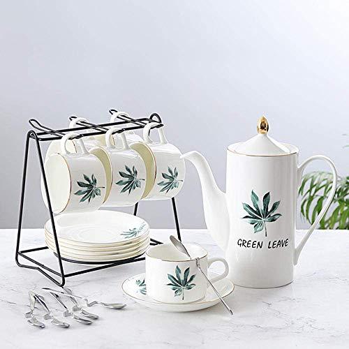 Tcbz Juego de café exprés de cerámica de 6 Piezas Juego de té para el hogar Juego de café con Leche Plato para Taza de café Cafetera Completa 150ml
