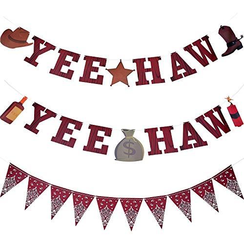 3 Piezas Pancarta de Vaquero Bandera Yee Haw Pancarta de Banderín de...