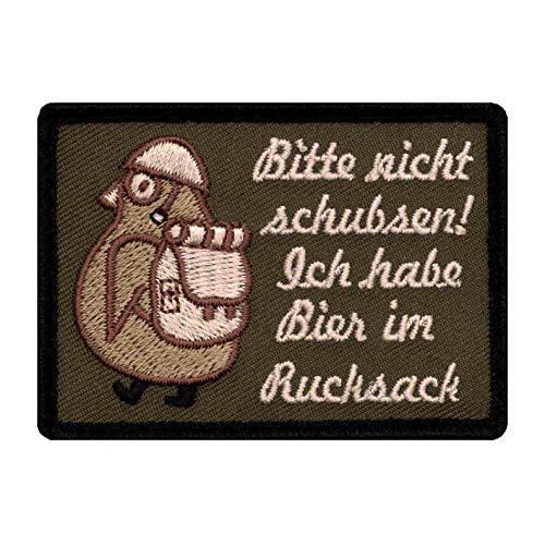 Café Viereck ® Bitte Nicht Schubsen Ich Habe Bier im Rucksack - Fun Patch mit Klett Pinguin mit Helm und Stiefeln - 7 cm x 5 cm